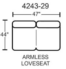 Jackson Lawson Armless Loveseat - Godiva