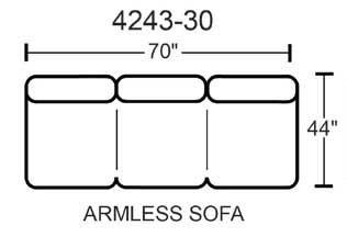 Lawson Armless Sofa - Godiva