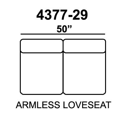 Jackson Everest Armless Loveseat - Chocolate