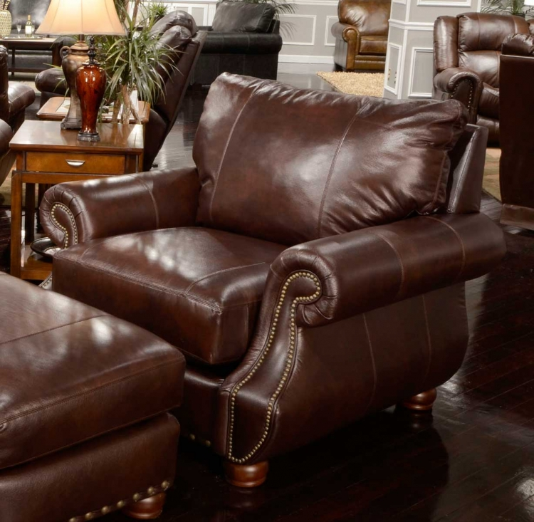 Dawson Top Grain Leather Match Chair - Redwood
