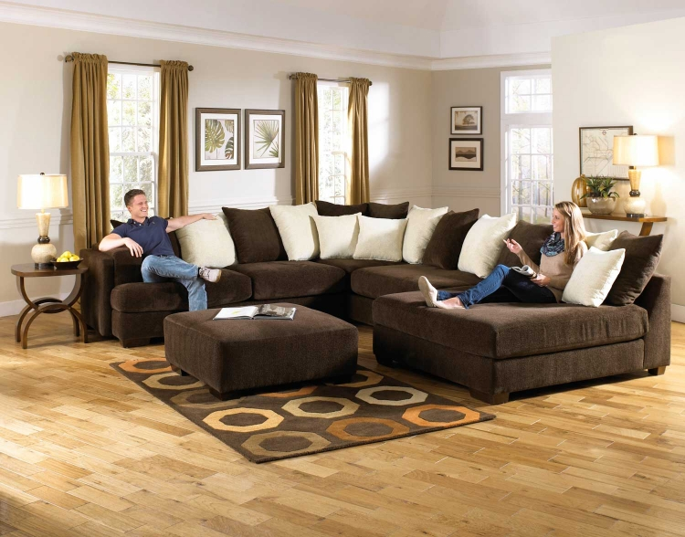 Axis Large Sectional Sofa Set - Chocolate - Jackson Furniture