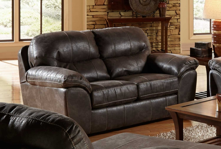 Grant Bonded Leather Loveseat - Steel