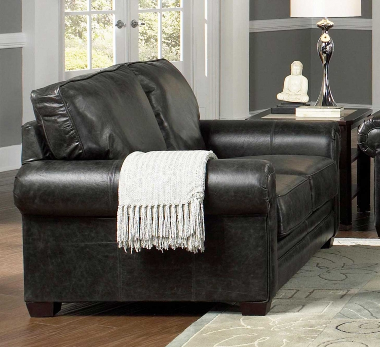 Channing Loveseat - Stone Color Leather