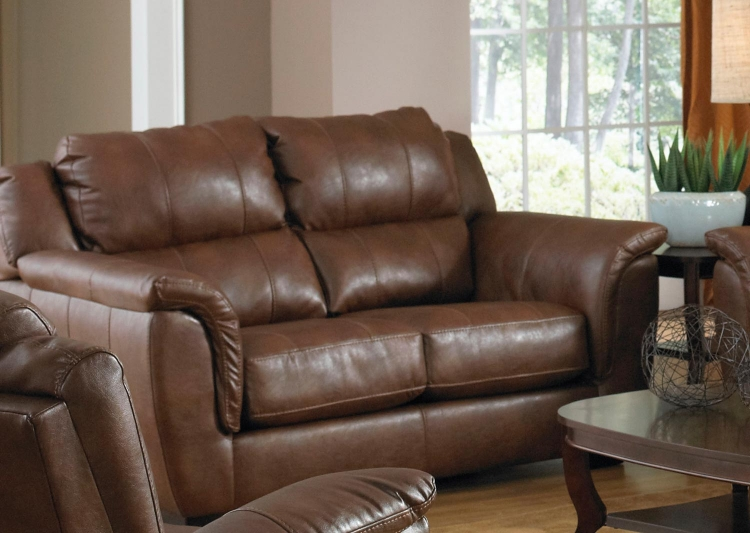 Verona Leather Loveseat - Chestnut - Jackson Furniture