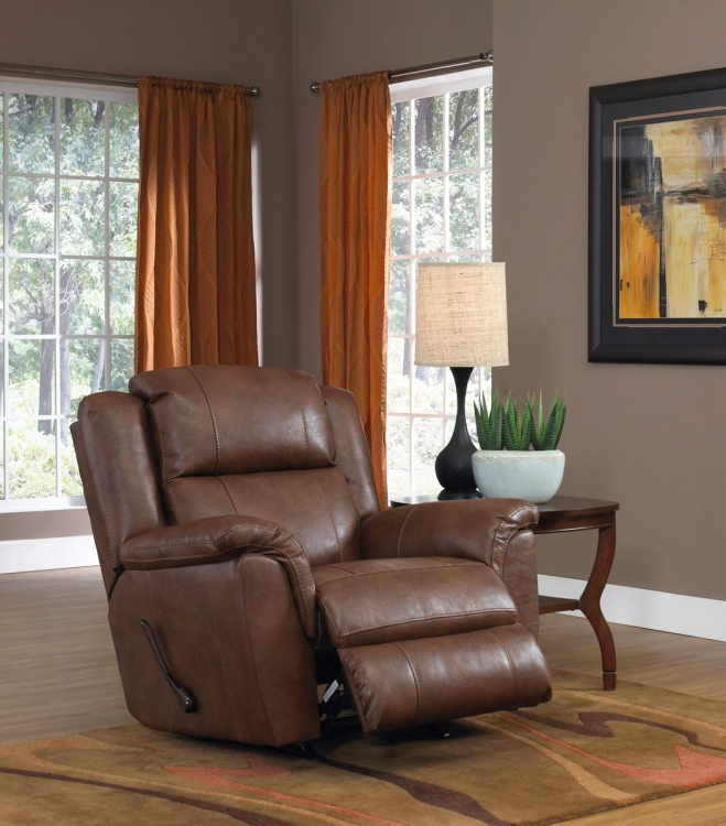 Verona Leather Rocker Recliner - Chestnut