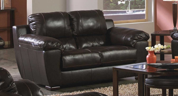 Sergio Leather Match Loveseat - Mahogany