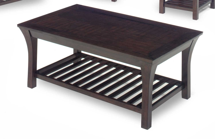 813 Series Cocktail Table - Merlot Wood with Slat Shelves