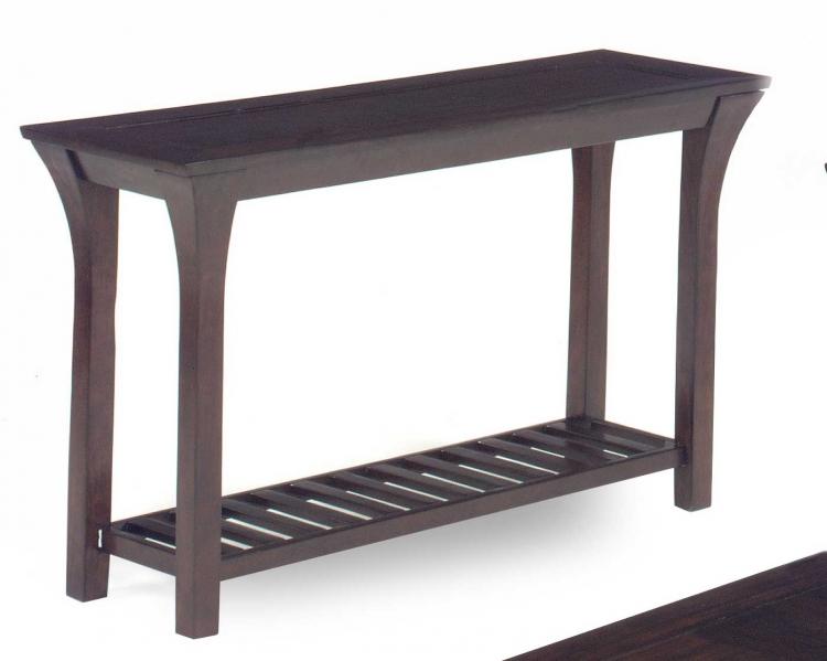 813 Series Sofa Table - Merlot Wood with Slat Shelves