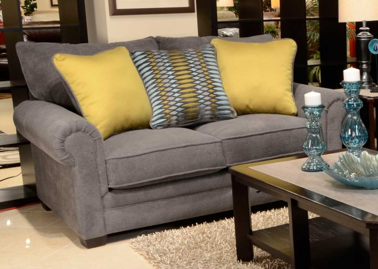 Anniston Loveseat - Carbon/Turquoise