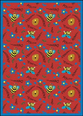 Bee Attitudes Rug - Red - Joy Carpet