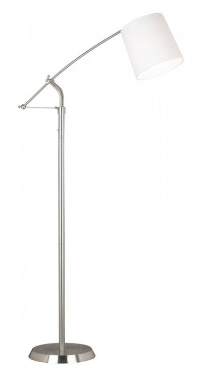 Reeler 1 Light Adjustable Floor Lamp - Brushed Steel