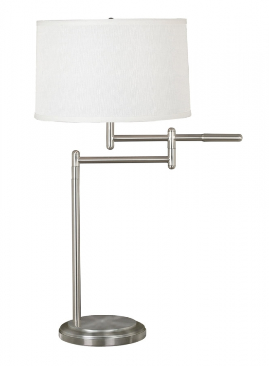 Theta 1 Light Swing Arm Table Lamp - Brushed Steel