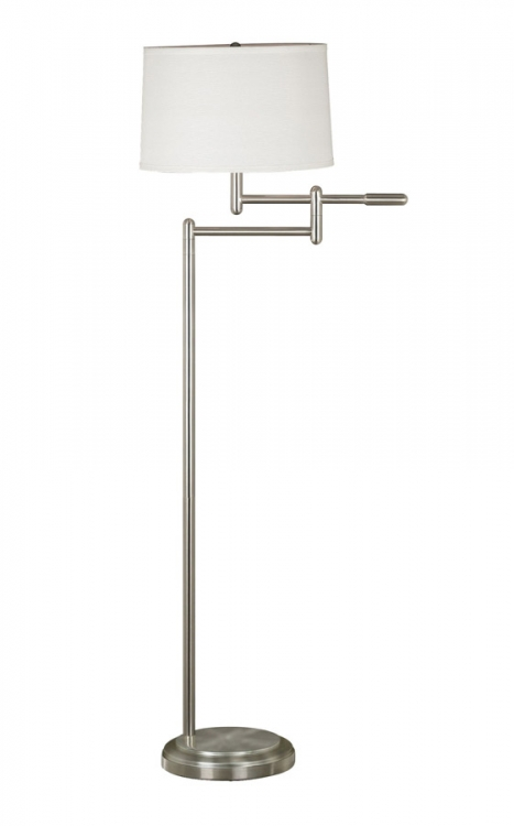 Theta 1 Light Swing Arm Floor Lamp - Brushed Steel