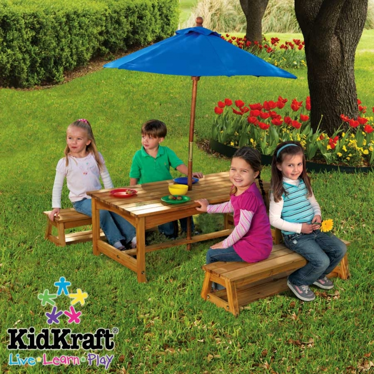 Table and Benches with Blue Umbrella - Kidkraft