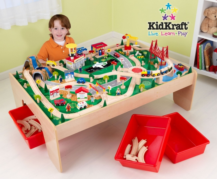 Natural Train Table with 3 Bins and 120pc Mountain Train Set - KidKraft