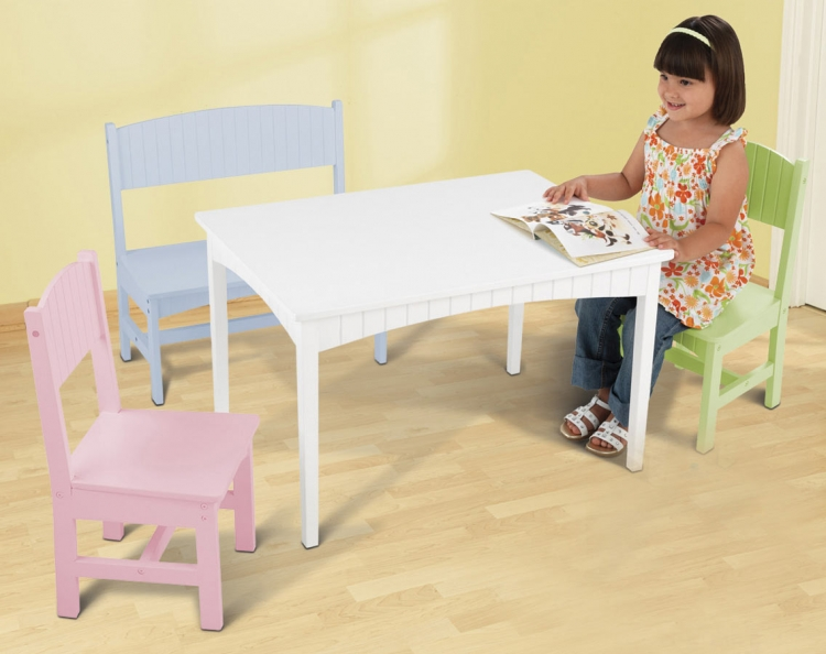 Nantucket Table with Bench and Two Chairs - Pastel