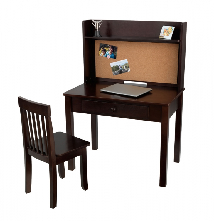 Pinboard Desk with Hutch and Chair