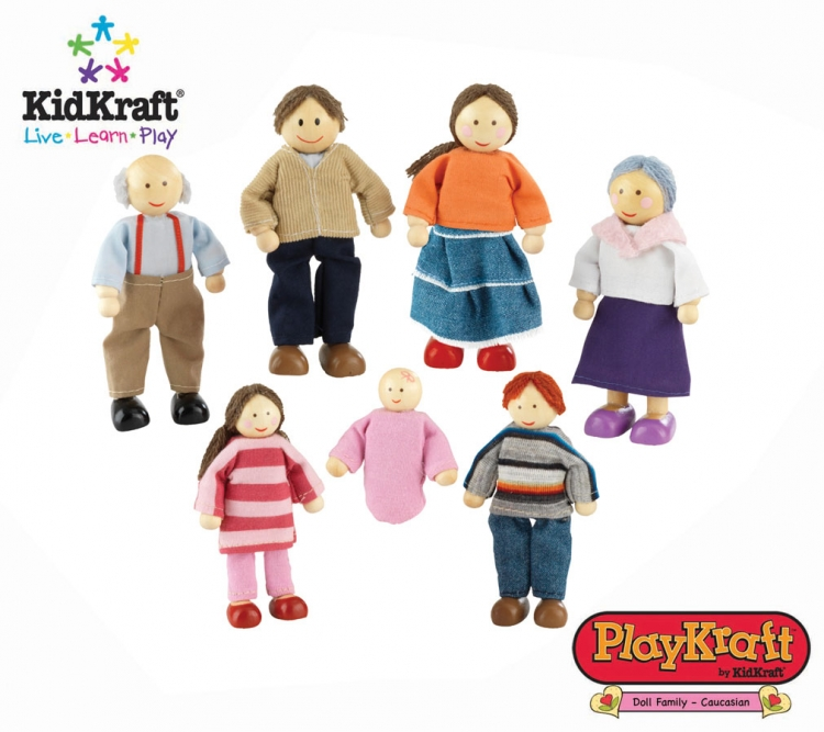 Doll Family of 7 Caucasian - PlayKraft by Kidkraft