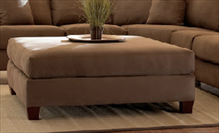 Canyon Ottoman - Microsuede Chocolate