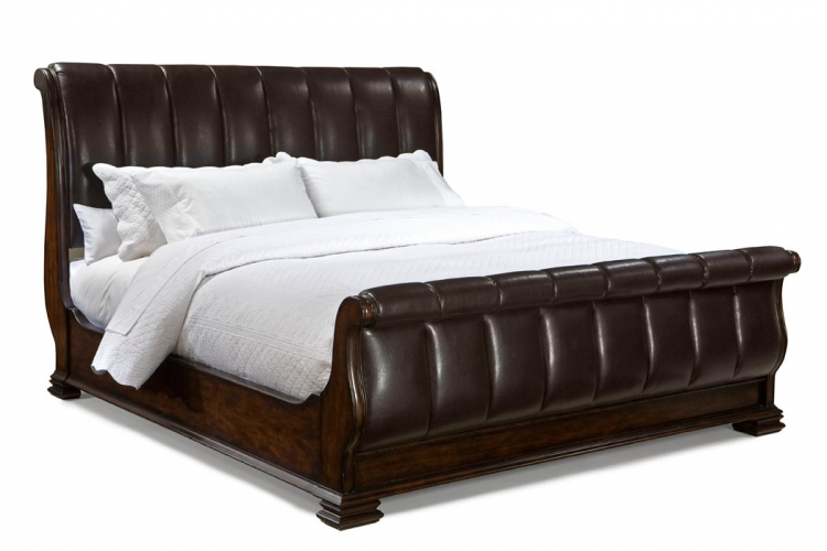 Havana Leather Sleigh Bed