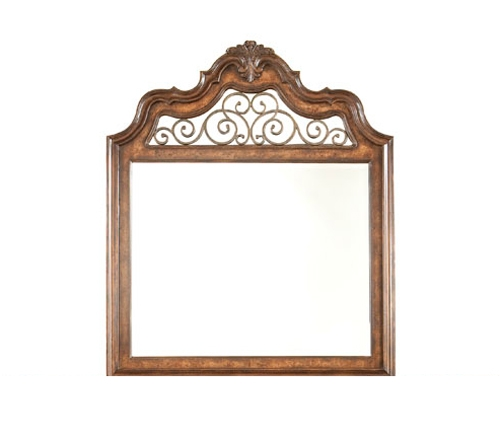 Royal Tradition Arched Dresser Mirror With Metal Scroll Work