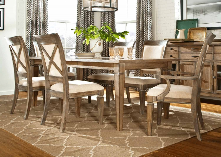 Brownstone Village Dining Set with Leg Table- Aged Patina