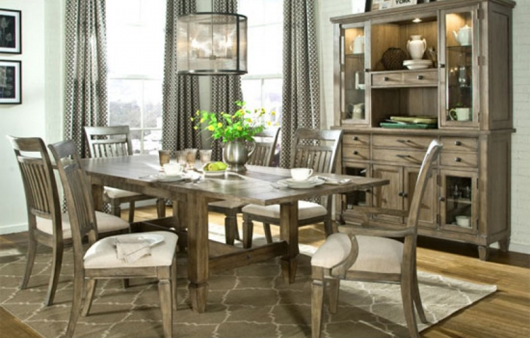 Brownstone Village Dining Set with Trestle Table - Aged Patina