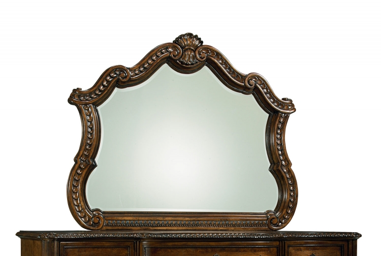 Pemberleigh Arched Mirror for Dresser - Brandy/Burnished Edges
