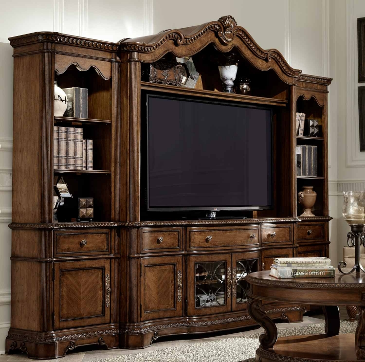 Pemberleigh Media Unit - Brandy/Burnished Edges