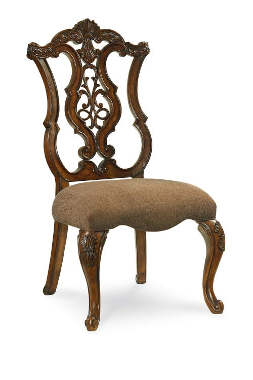 Pemberleigh Pierced Back Side Chair - Brandy/Burnished Edges