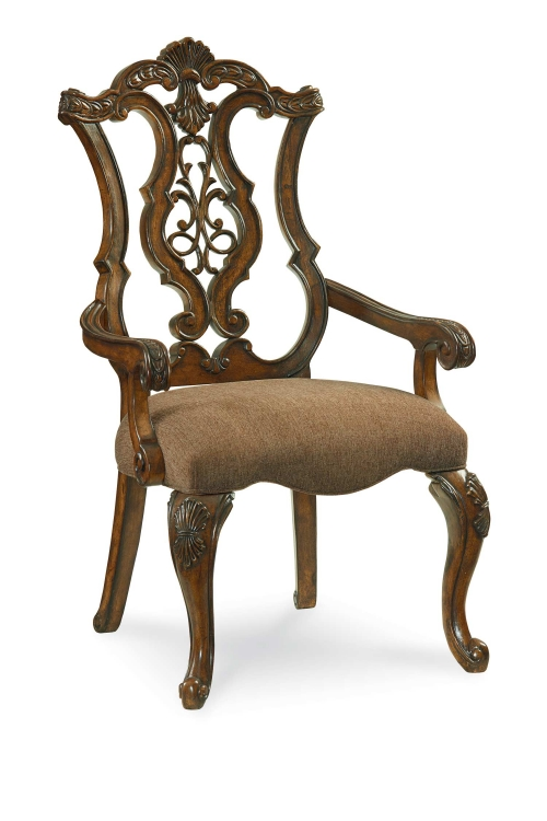 Pemberleigh Pierced Back Arm Chair - Brandy/Burnished Edges