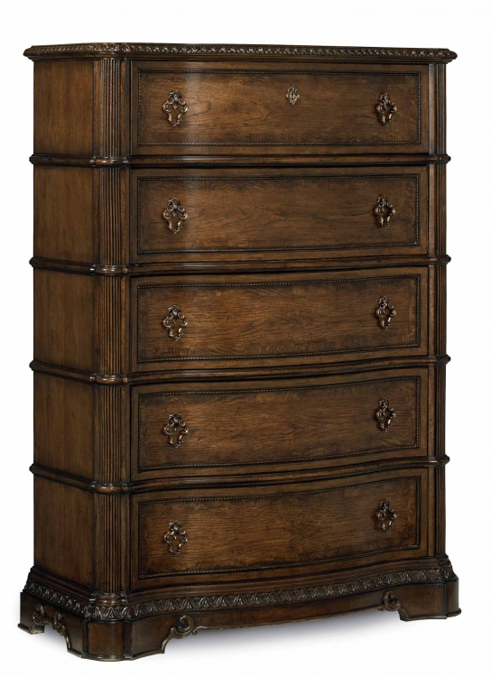 Pemberleigh Drawer Chest - Brandy/Burnished Edges