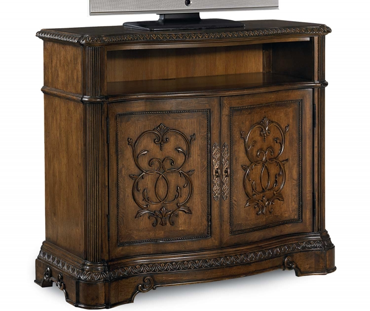 Pemberleigh Media Chest - Brandy/Burnished Edges