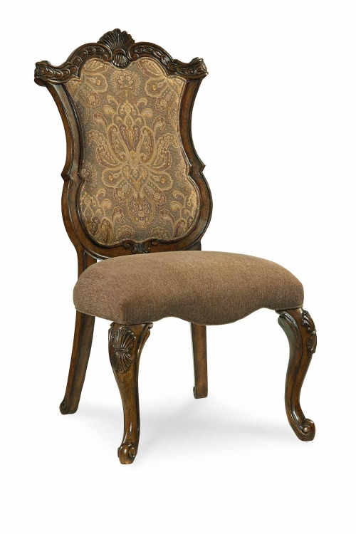 Pemberleigh Upholstered Side Chair - Brandy/Burnished Edges