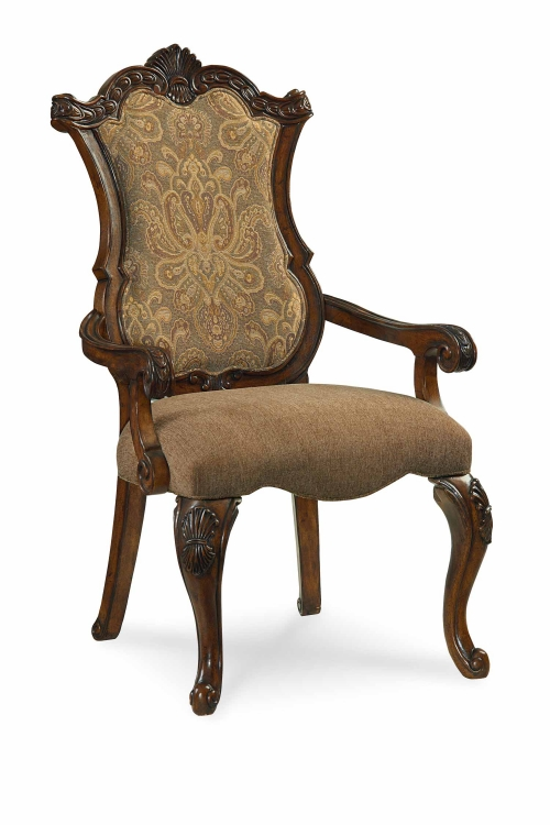 Pemberleigh Upholstered Arm Chair - Brandy/Burnished Edges