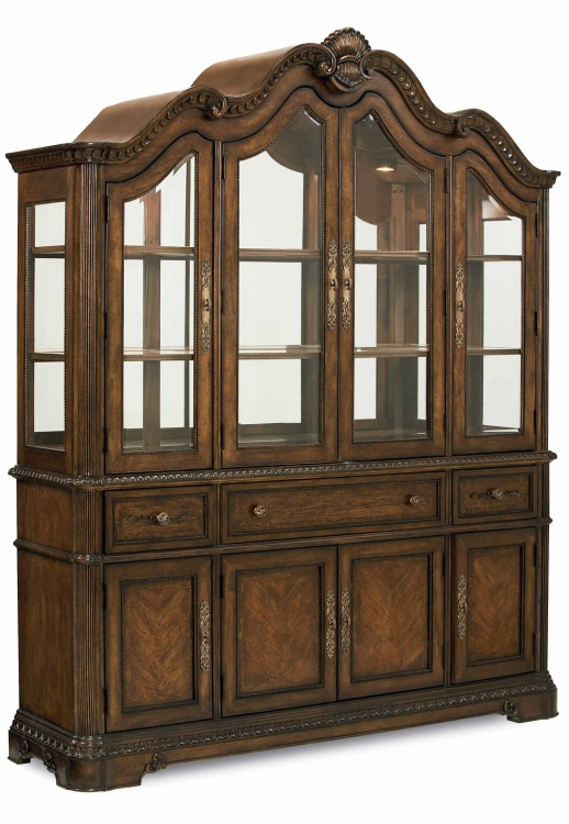 Pemberleigh Buffet and Hutch - Brandy/Burnished Edges