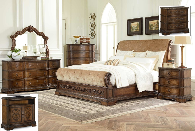 Pemberleigh Upholstered Sleigh Bedroom Set - Brandy/Burnished Edges