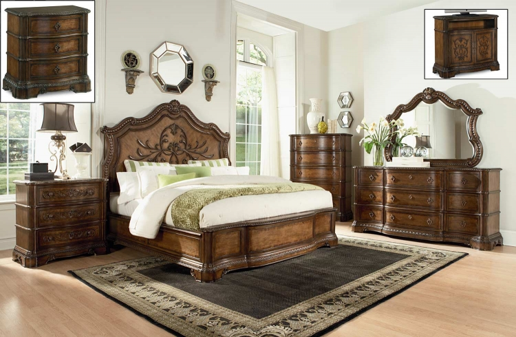 Pemberleigh Panel Bedroom Set - Brandy/Burnished Edges