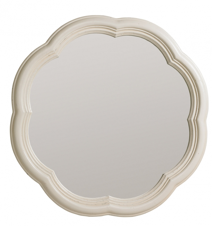 Haven Scalloped Accent Mirror - Buttercream White/Slight Distressing
