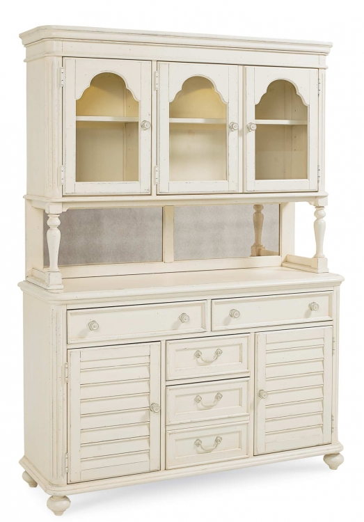 Haven China Cabinet - Buttercream White/Slight Distressing