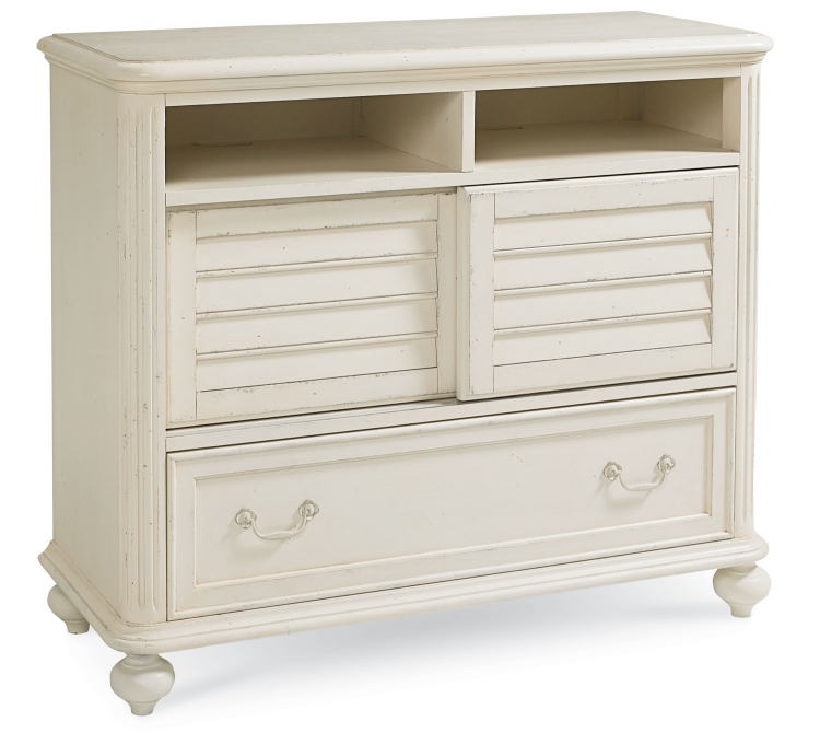 Haven Media Chest - Buttercream White/Slight Distressing
