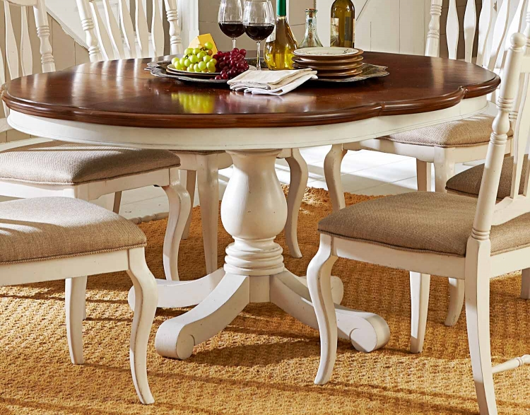 Haven High/Low Pedestal Table - Buttercream White/Slight Distressing