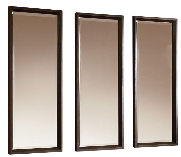 Kateri Set of Triple Mirrors - Hazelnut/Ebony Exteriors