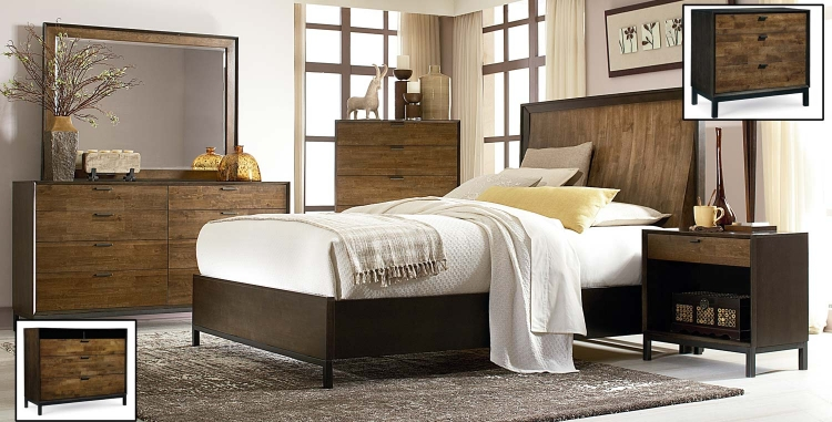 Kateri Panel Bedroom Set - Hazelnut/Ebony Exteriors