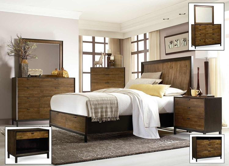 Kateri Panel Storage Bedroom Set - Hazelnut/Ebony Exteriors