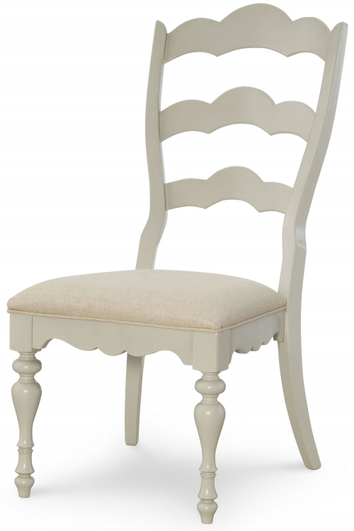 Sanibel Scalloped Ladderback Side Chair - Driftwood/Mist Paint