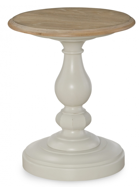 Sanibel Round Chairside Table - Driftwood/Mist Paint