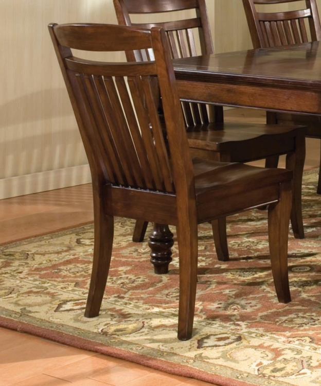 Canyon Creek Slat Back Side Chair with Wood Seat
