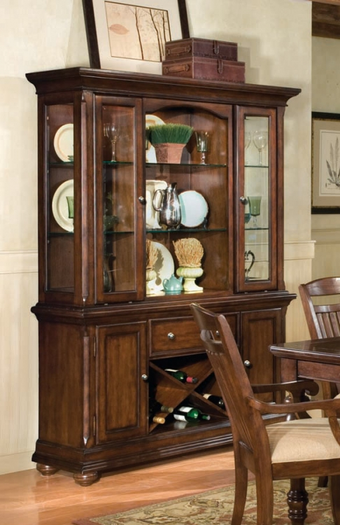 Canyon Creek Buffet with Wine Rack and China Hutch
