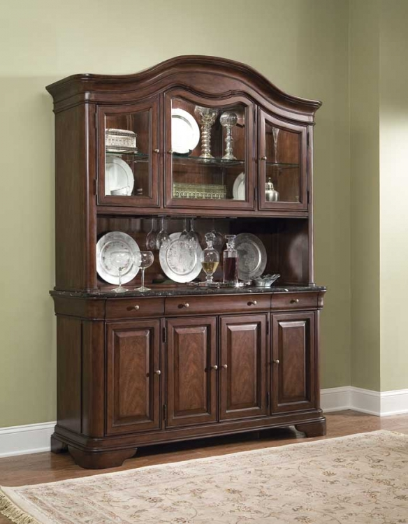 Heritage Court Credenza Hutch with Marble Top